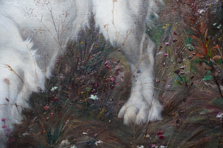Portrait of a Dog in a Landscape - French Edwardian art oil painting For Sale 2