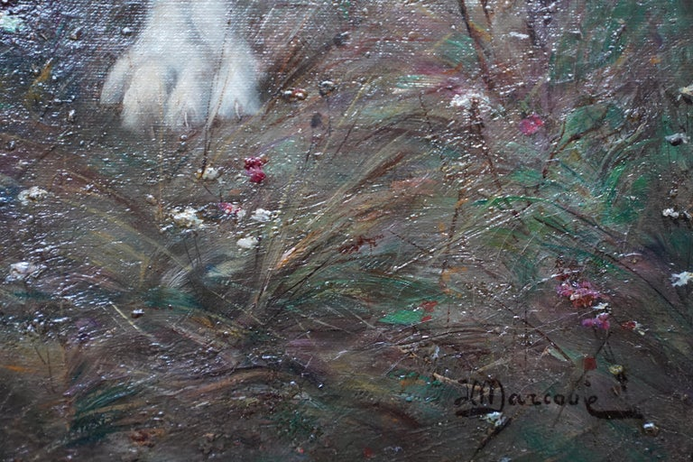 Portrait of a Dog in a Landscape - French Edwardian art oil painting For Sale 3