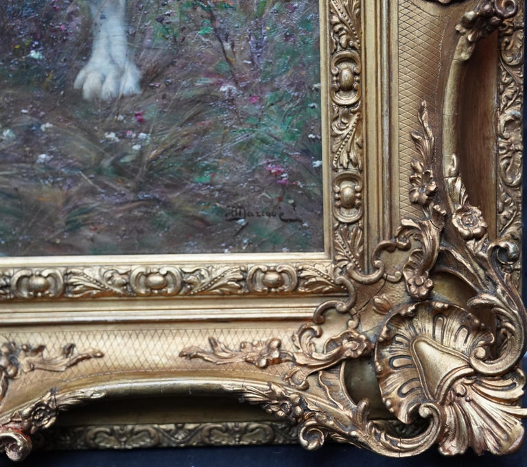 Portrait of a Dog in a Landscape - French Edwardian art oil painting For Sale 4