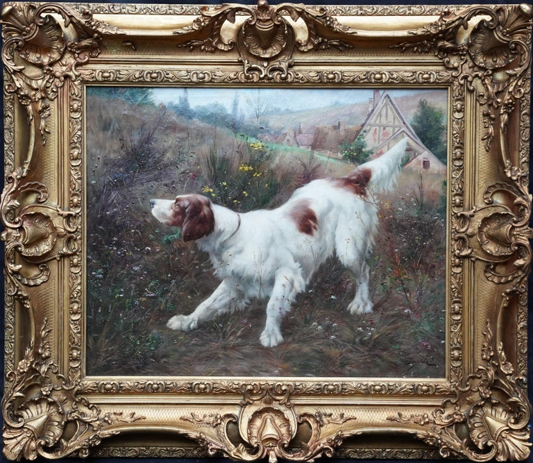 Victor Marcou Animal Painting - Portrait of a Dog in a Landscape - French Edwardian art oil painting