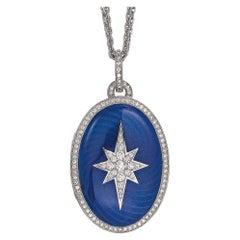 Victor Mayer 18k White Gold Locket with Electric Blue Enamel & 108 Diamonds