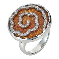 Victor Mayer Artemis Enamel Ring 18k White Gold/Yellow Gold 57 Diamonds