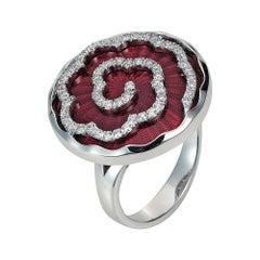 Victor Mayer Artemis Light Red Enamel Ring 18k White Gold with Diamonds