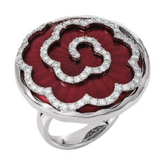 Victor Mayer Artemis Light Red Enamel Ring in 18k White Gold with 57 Diamonds