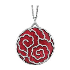 Victor Mayer Artemis Necklace 18k White Gold with Light Red Enamel 213 Diamonds
