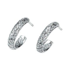 Victor Mayer Calima Earrings in 18k White Gold with 104 Diamonds
