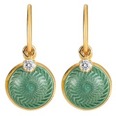 Victor Mayer Candy Light Turquoise Enamel Earrings 18k Yellow Gold 2 Diamonds