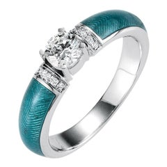 Victor Mayer Cocktail Turqouise Enamel Ring in 18k White Gold with 10 Diamonds