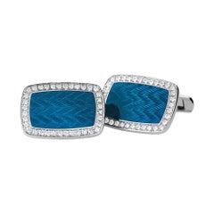 Victor Mayer Dorian Blue Enamel Cufflinks in 18k White Gold with Diamonds