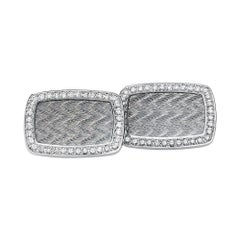 Victor Mayer Dorian Grey Enamel Cufflinks in 18k White Gold with Diamonds