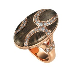 Victor Mayer Enamel Locket Ring 18k Rose Gold Diamonds