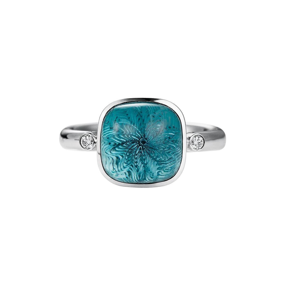 Victor Mayer Era Blue Topaz Ring in 18k White Gold with Diamonds