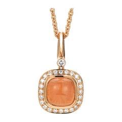 Victor Mayer Era Pendant 18k Rose Gold with Rose Quartz and 25 Diamonds