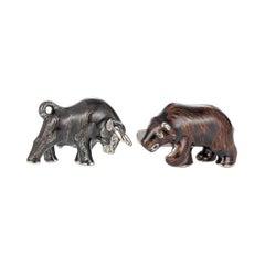 Victor Mayer Fauna Animal Motif Bull and Bear Cufflinks 18k White Gold