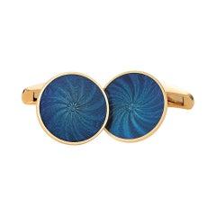 Victor Mayer Globetrotter Cufflinks 18k Yellow Gold & Electric Blue Enamel