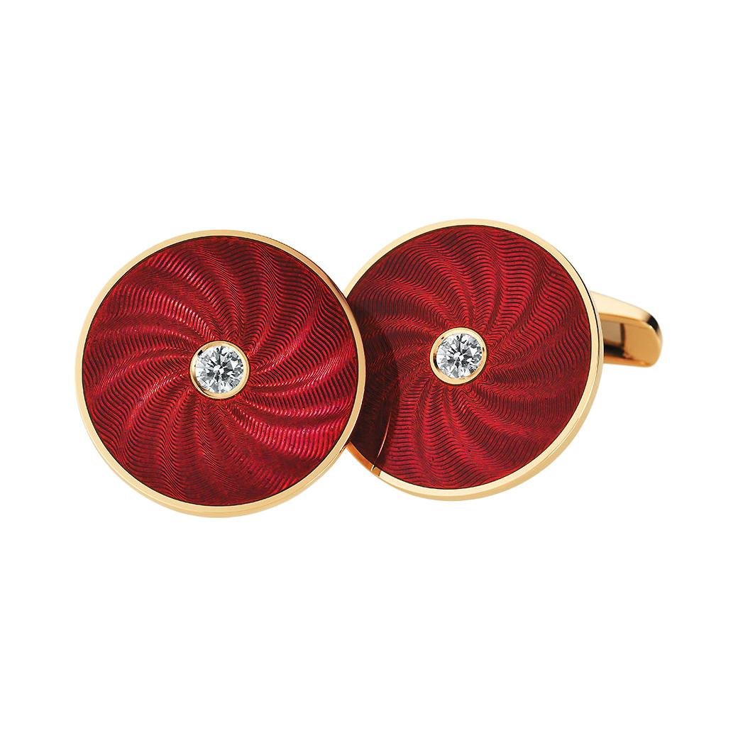 Victor Mayer Globetrotter Cufflinks 18k Yellow Gold Red Enamel & Diamonds