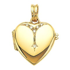 Victor Mayer Heart-Shaped 18k Yellow Gold Locket with 0.09 ct 6 Diamonds