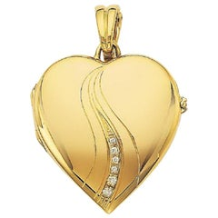 Victor Mayer Heart-Shaped 18k Yellow Gold Locket with 7 Diamonds