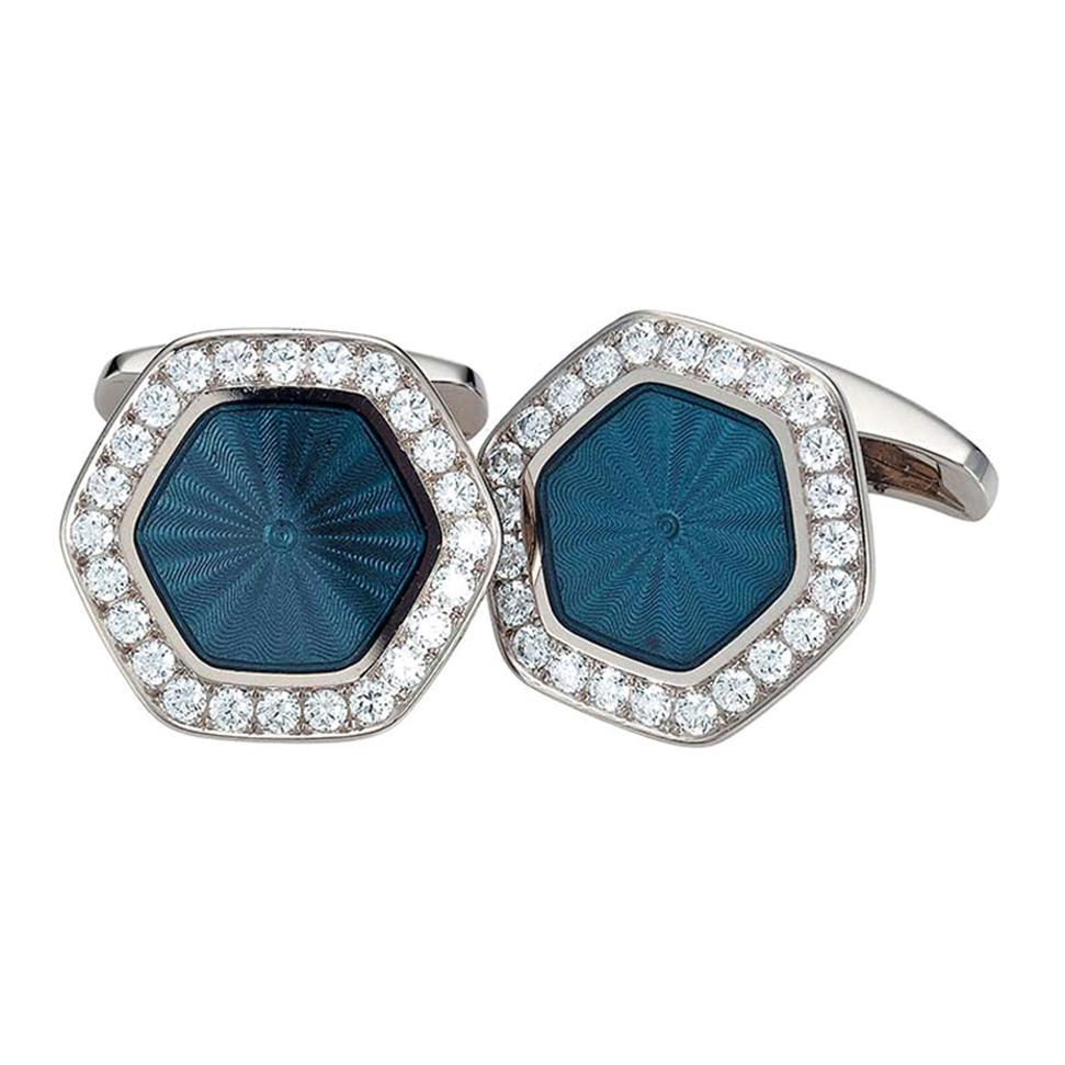 Victor Mayer Hexagonal Cufflinks, 18k White Gold, Blue Guilloche Enamel Diamonds