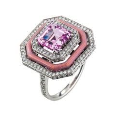 Victor Mayer Kunzite Vitreous Enamel Ring 18k White Gold Gold with Diamonds