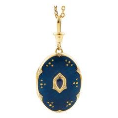 Victor Mayer Locket Victoria, 18k Yellow Gold, Vitreous Enamel, Sapphire
