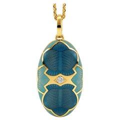 Victor Mayer Merian Locket 18k Yellow Gold with Blue Enamel