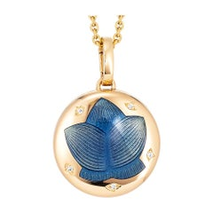 Victor Mayer Merian Locket 18k Yellow Gold with Vitreous Enamel