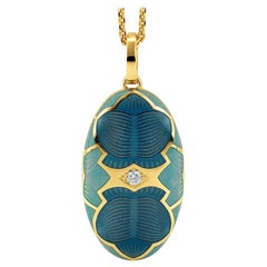 Victor Mayer Merian Locket Necklace 18k Yellow Gold with Blue Enamel