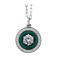 Victor Mayer Necklace 18k White/Yellow Gold Green Enamel and 39 Diamonds