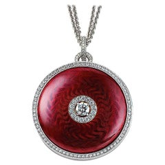 Victor Mayer Opera Necklace 18k White/Yellow Gold Aubergine Red Enamel Diamonds