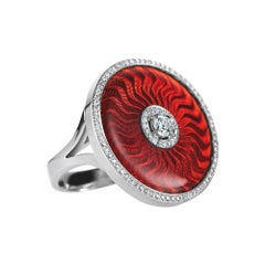 Victor Mayer Opera Red Enamel Ring 18k White Gold/Yellow Gold with Diamonds