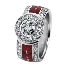 Victor Mayer Opera Red Enamel Ring in 18k White Gold with Diamonds