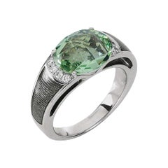 Victor Mayer Peacock Silver Enamel Ring 18k White Gold with Diamonds