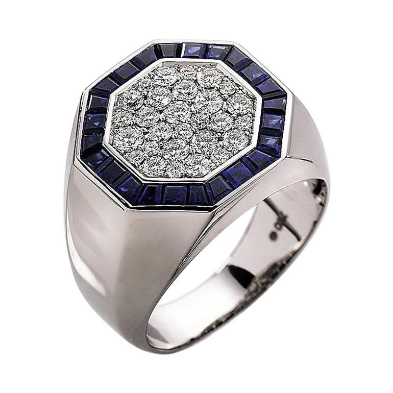 Victor Mayer Ring, 18k White Gold, Diamonds, Sapphires