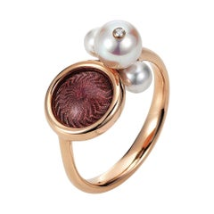 Victor Mayer Ring Candy, 18k GG, Vitreous Enamel, 1 Brilliant Cut Diamond Total