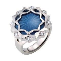 Victor Mayer Ring Chrysantheme, 18k RG/WG, Vitreous Enamel, 8 Diamonds Total 0.2