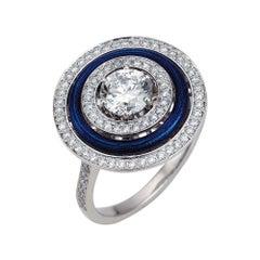 Victor Mayer Soirée Blue Enamel Ring 18k White Gold/Yellow Gold with Diamonds