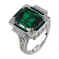 Victor Mayer Soirée Emerald Green Enamel Ring 18k White Gold with 68 Diamonds