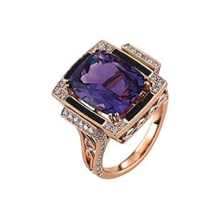 Victor Mayer Soirée Lilac Enamel Ring 18k Rose Gold with Diamonds
