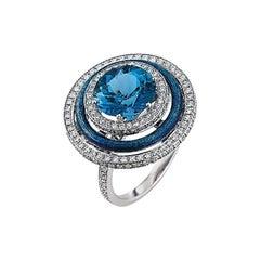 Victor Mayer Soirée Medium Blue Enamel Ring 18k White Gold/Yellow Gold Diamonds