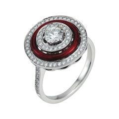 Victor Mayer Soirée Red Enamel Ring 18k White Gold/Yellow Gold with Diamonds