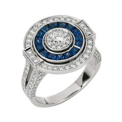 Victor Mayer Soiree Ring, 18k White Gold, Diamonds Total 1.13 ct, Sapphire
