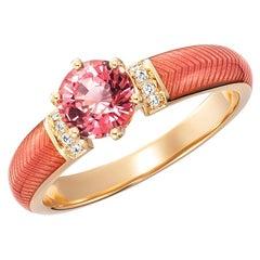 Victor Mayer Solitaire Ring Pink Tourmaline 18k Yellow Gold Diamonds Enamel