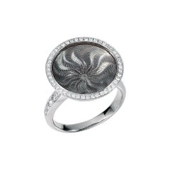 Victor Mayer Trance Silver Enamel Ring 18k White Gold with 57 Diamonds