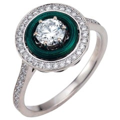 Victor MayerSoirée Emerald Green Enamel Ring 18k White Gold/Yellow Gold Diamonds