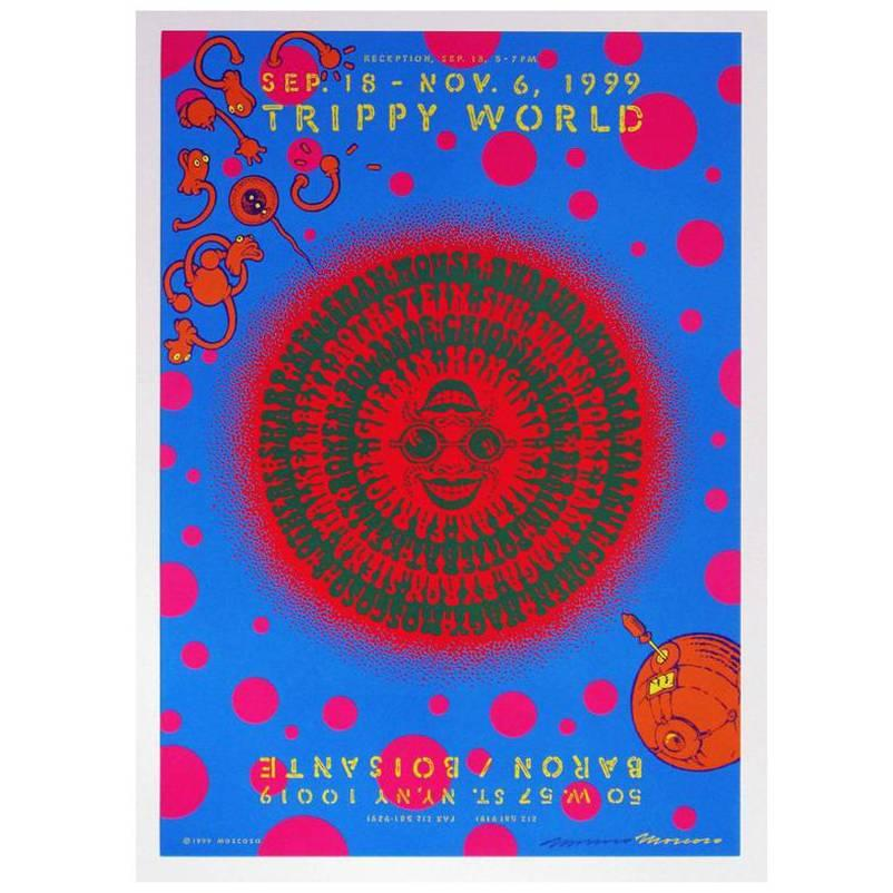 Victor Moscoso, Signed Vintage Exhibition Poster 'Trippy World'
