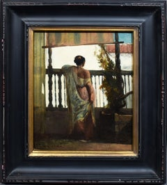 Antique American Historical Interior Portrait Signed Oil Painting