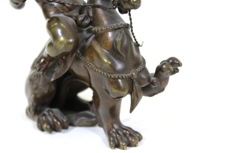 Victor Paillard French Bronze Putti Riding Chimera For Sale 5
