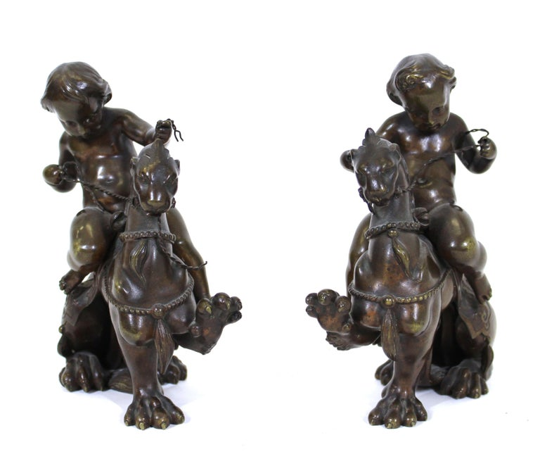 Neoclassical Revival Victor Paillard French Bronze Putti Riding Chimera For Sale