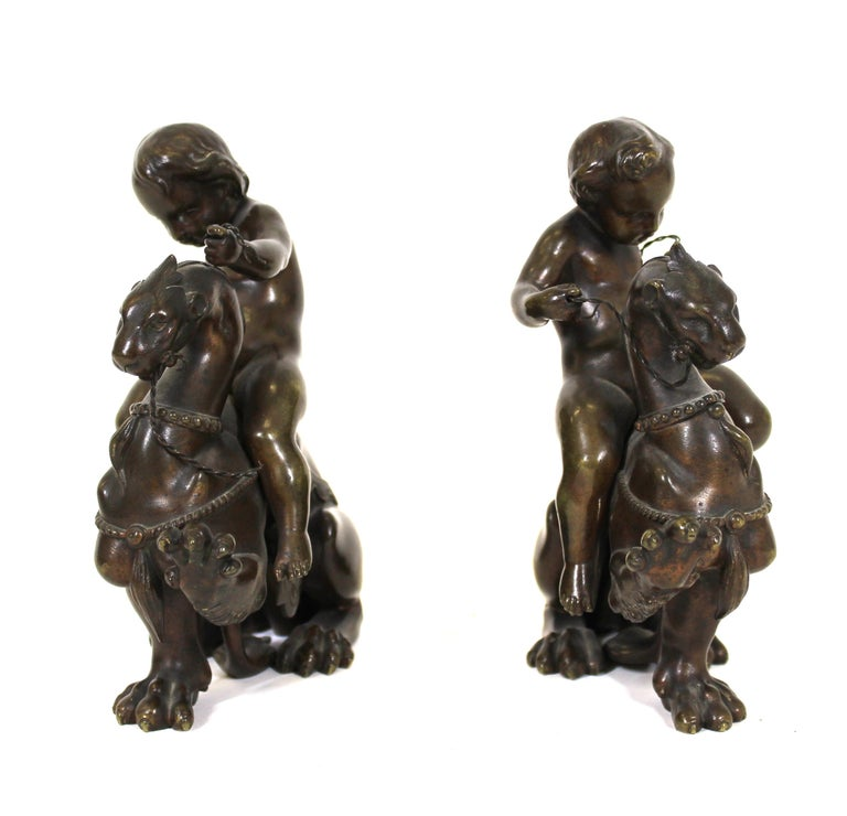 Victor Paillard French Bronze Putti Riding Chimera In Good Condition For Sale In New York, NY